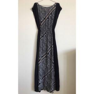 Ella Moss SILK Blouson Maxi Dress Blk/Wht Sz S